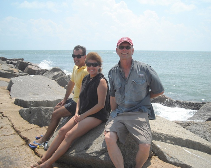 Port Aransas, Texas: My brother Dave, me, and Hook.