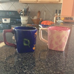 The pottery we decorated. Mother's cup is on the right.