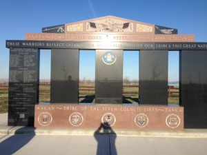 A monument on the Lower Brule reservation lists the name of every Sicangu Lakota who fought in a war beginning with the Indian War against the United States then fighting on behalf of the U.S. in the Spanish-American War, WWI, WWII, Korean War, Vietnam, Desert Storm, Afghanistan, and Iraq.